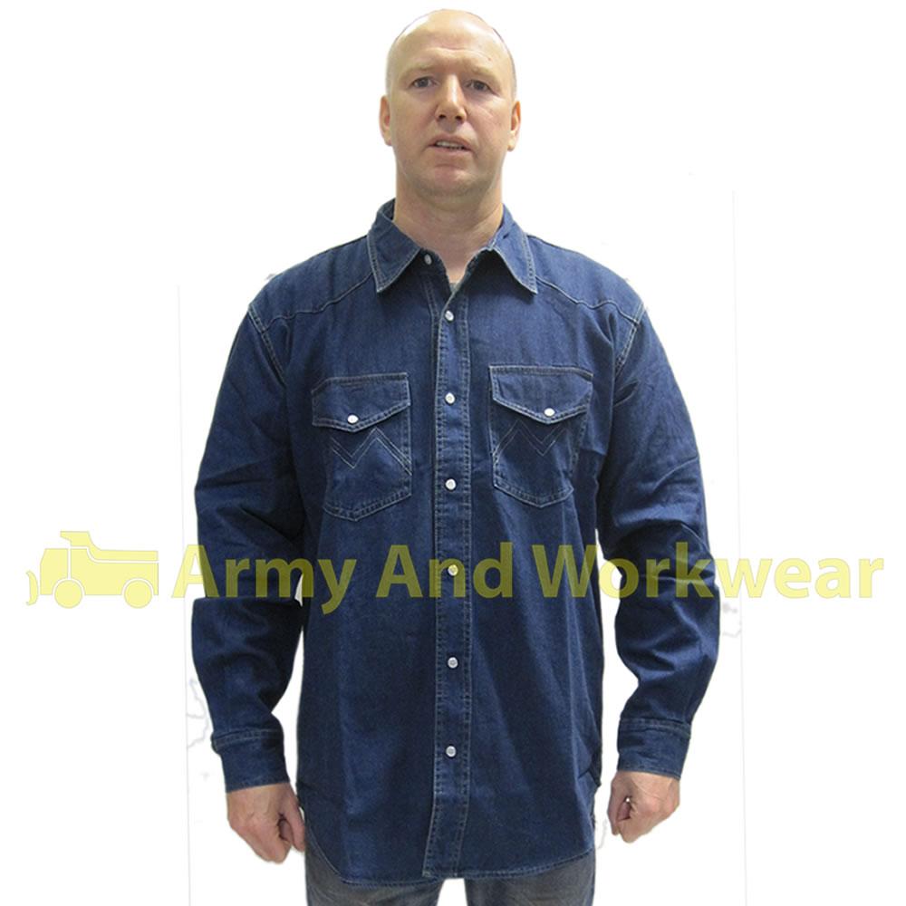 Mens classic heavy denim shirt long sleeved cotton for Mens denim work shirt