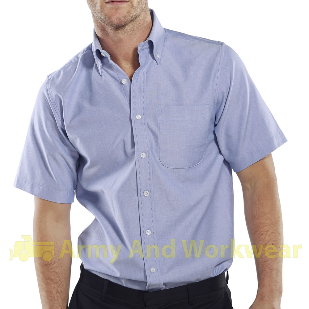 Mens Oxford Cotton Work Shirt Smart Casual Button Down