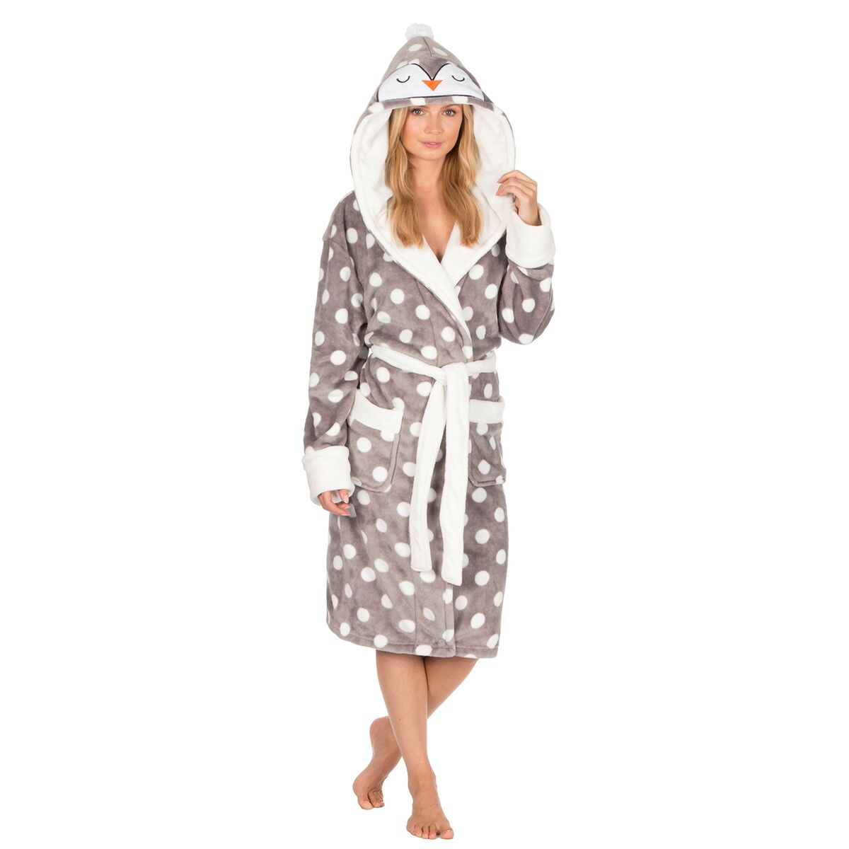 Ladies Fluffy Soft Fleece Snuggle Penguin Hooded Robe Dressing Gown ...