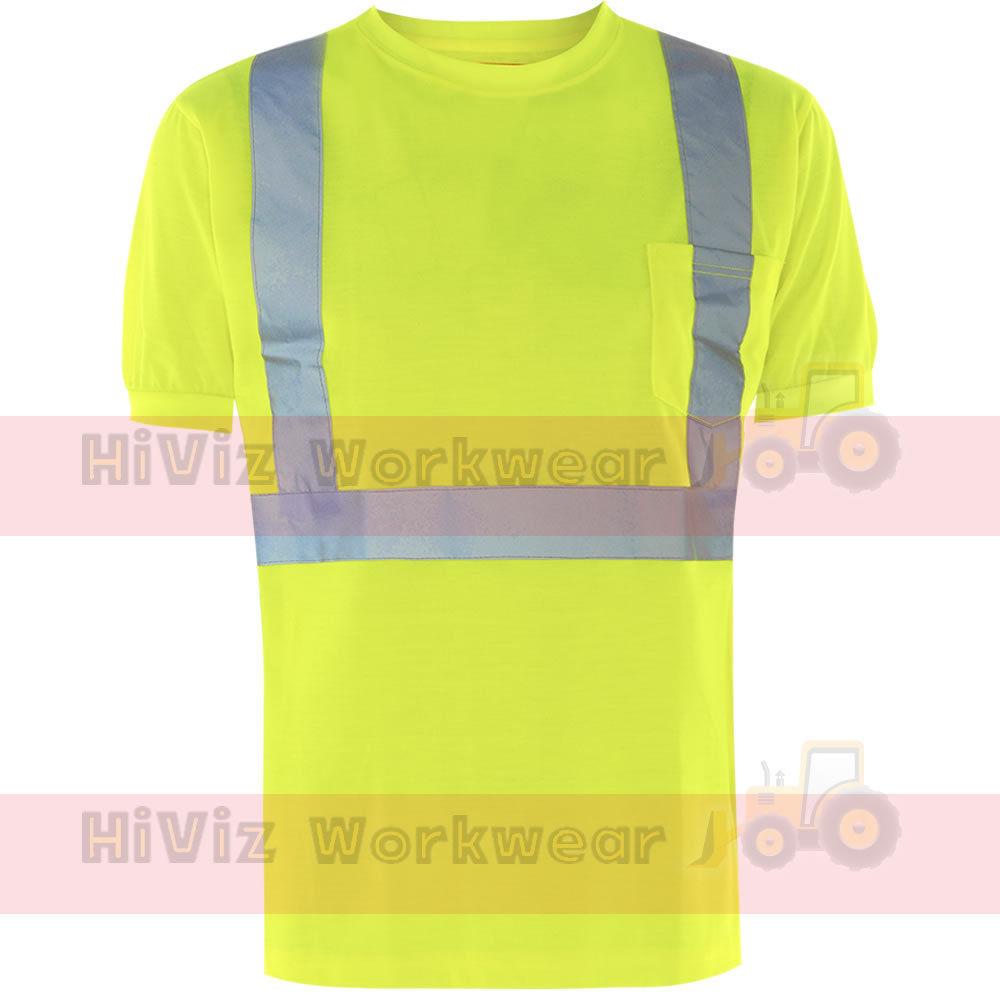 EN471-Crew-Round-Neck-Hi-Viz-Safety-T-shirt-Mens-Chest-Pocket-Reflective-Tape