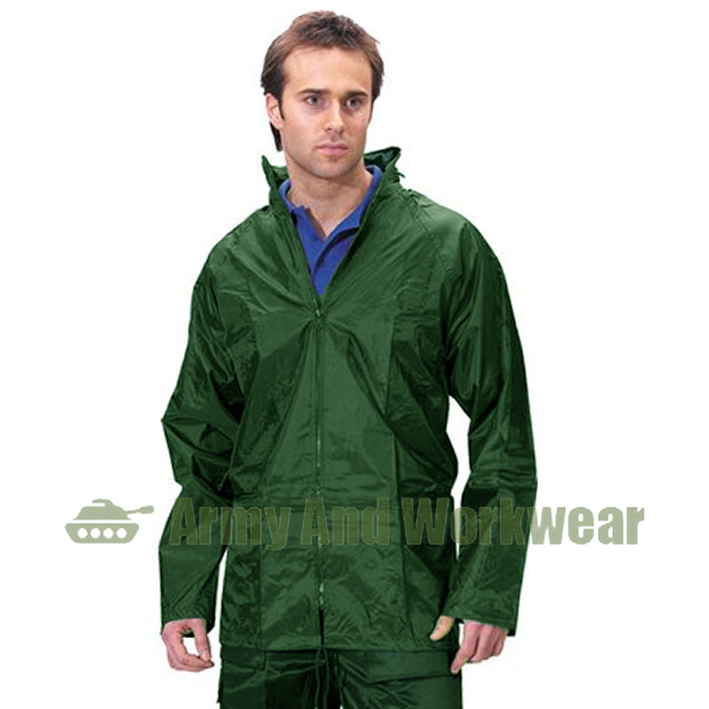 Adults waterproof rain jacket work coat kagoul hooded mens for Mens fishing rain gear