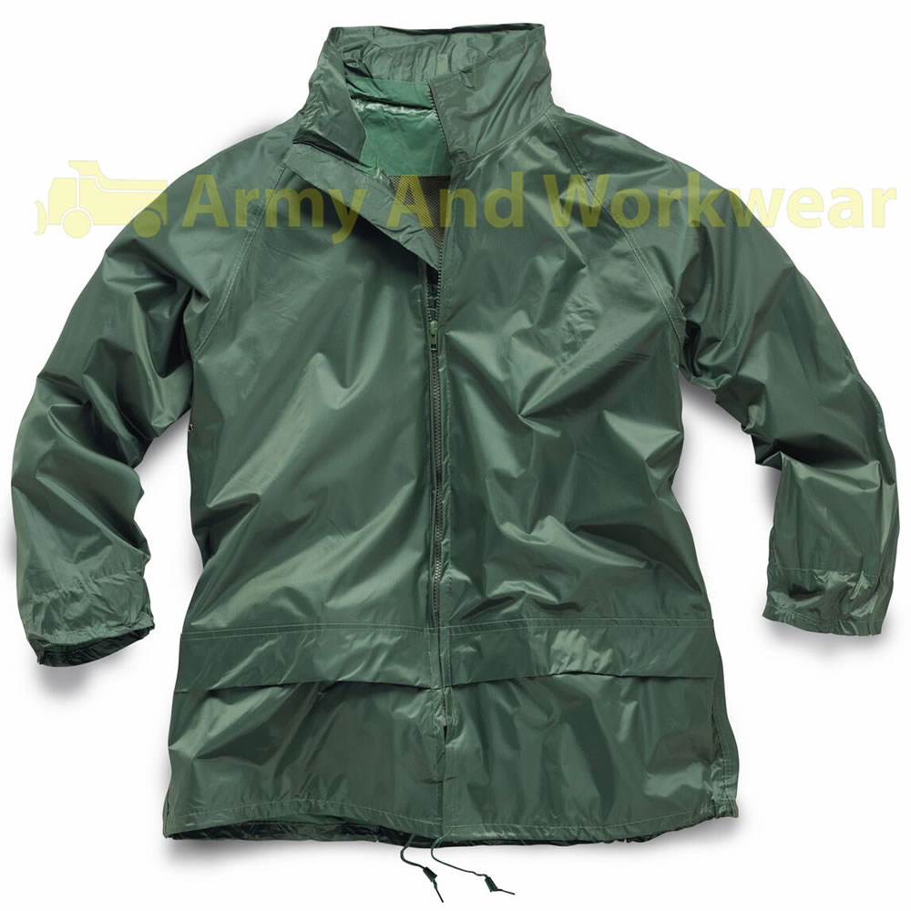 LIGHTWEIGHT WATERPROOF RAIN JACKET WORK COAT NYLON KAGOUL HOODED ...