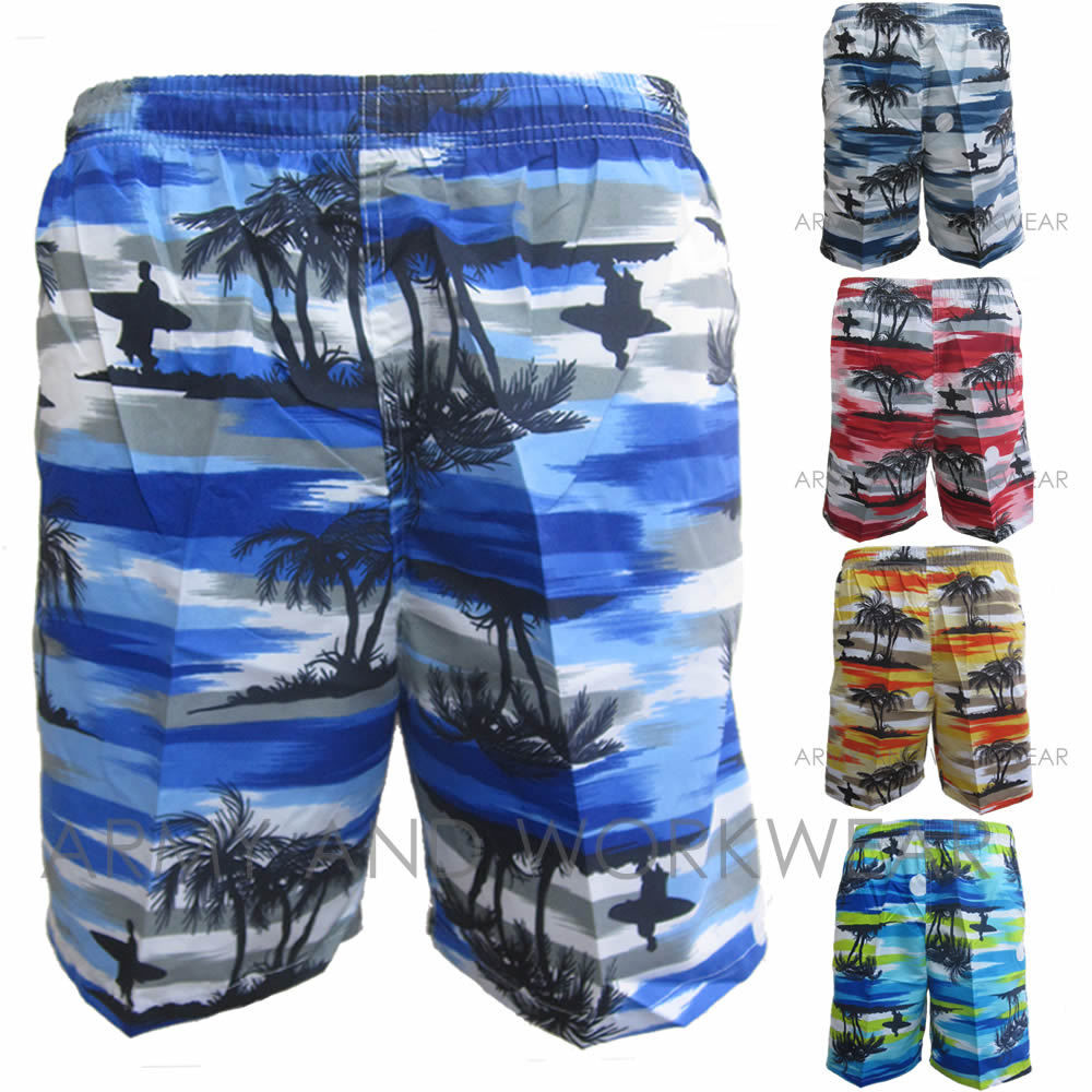 Palm-Tree-Surf-Shorts-Lightweight-Summer-Hawaiian-Beach-Party-Mens-Stag-Holiday