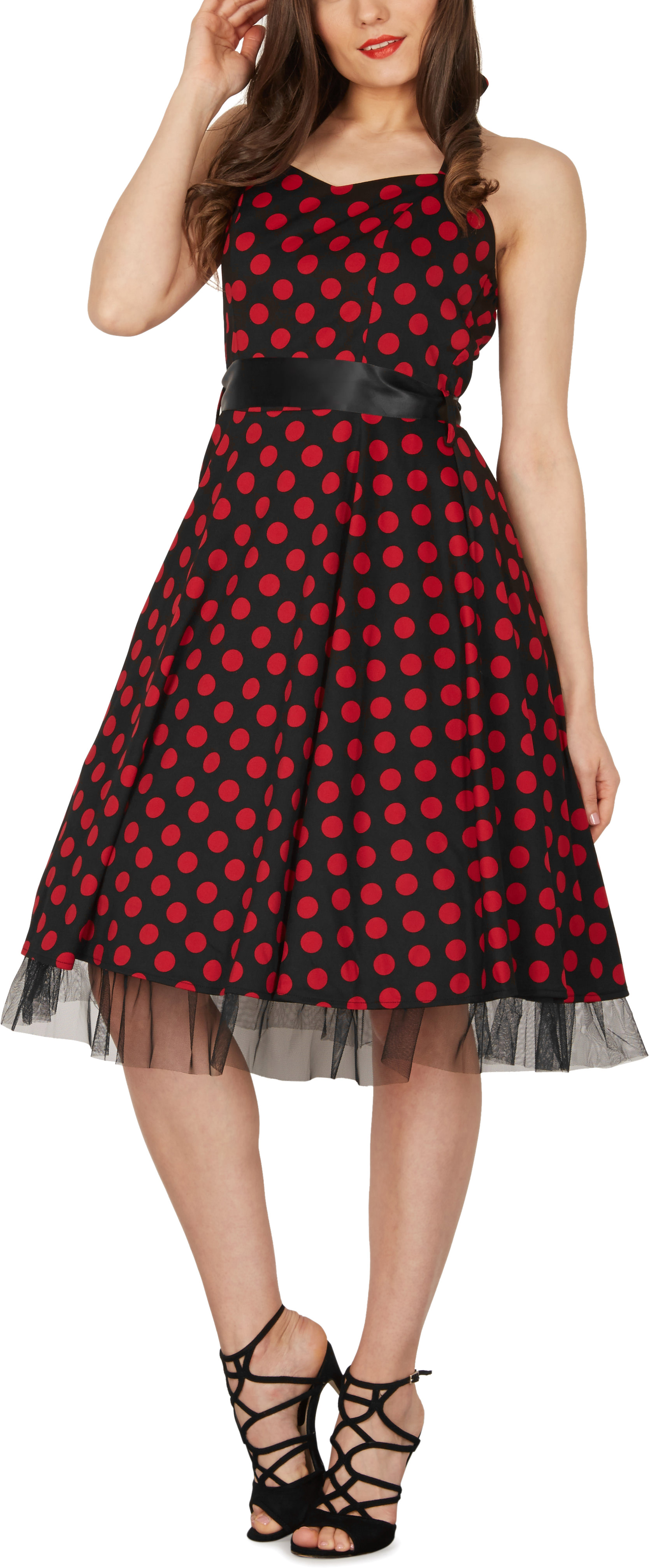 Rhya\' Vintage Polka Dot Rockabilly 1950\'s Swing Pin Up Prom Dress | eBay