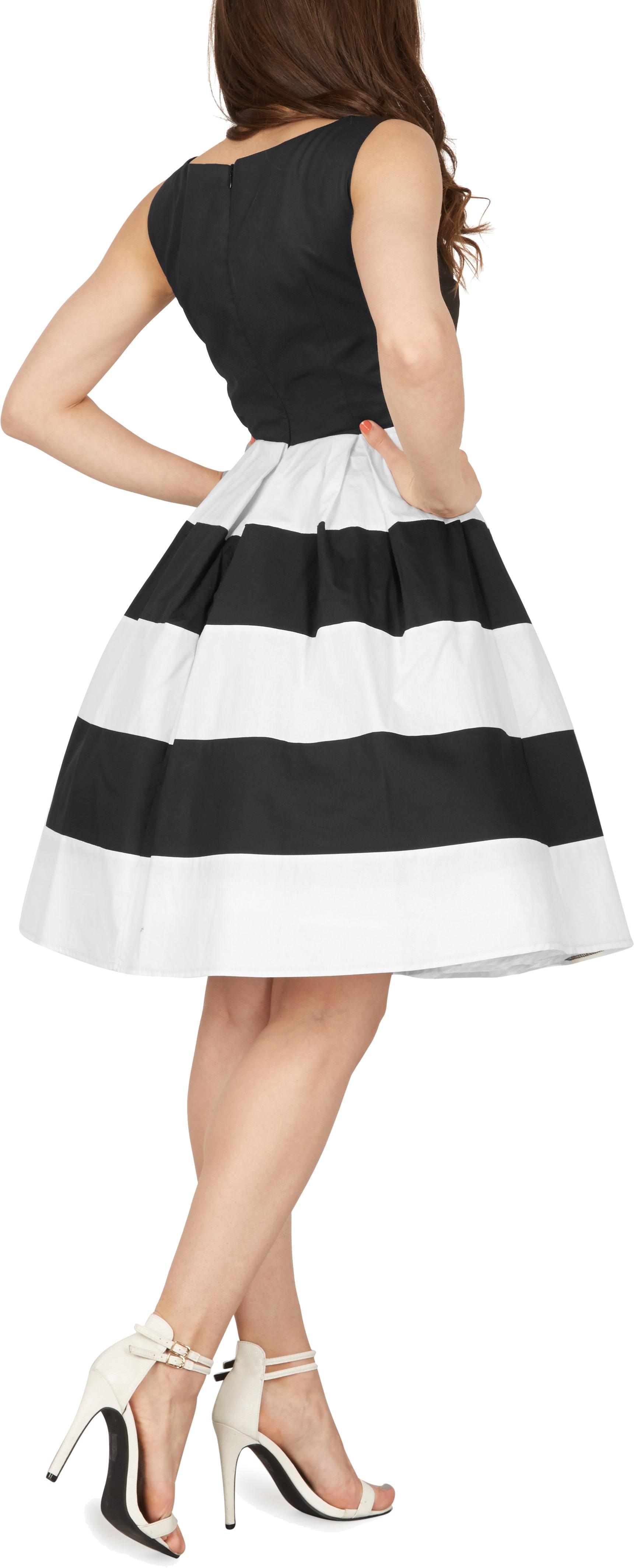 Rockabilly Nero Swing Up Prom Vintage Pin Dress 'lilly' 50's Striped Blackbutterfly fvYRRq