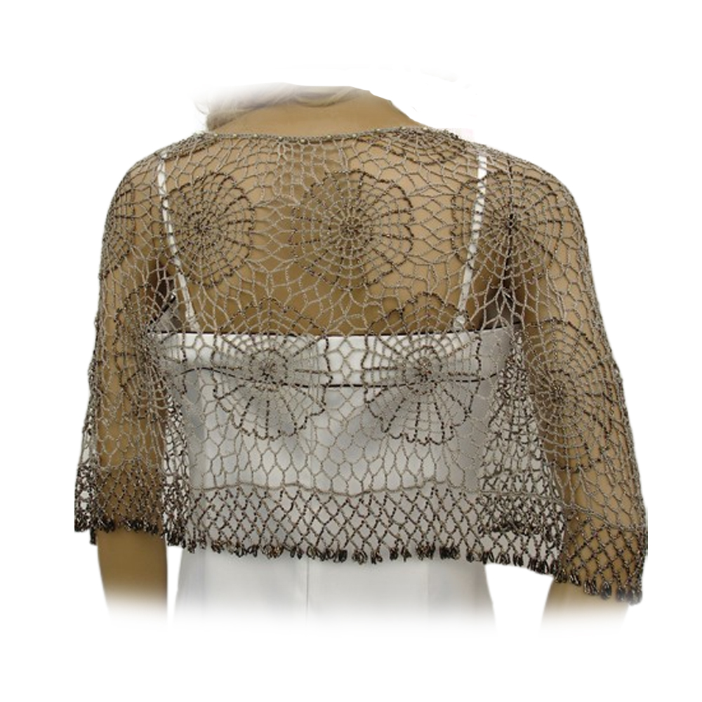 Classic Vintage Crochet Beaded Poncho Cape Shrug Shawl Evening Top One Size