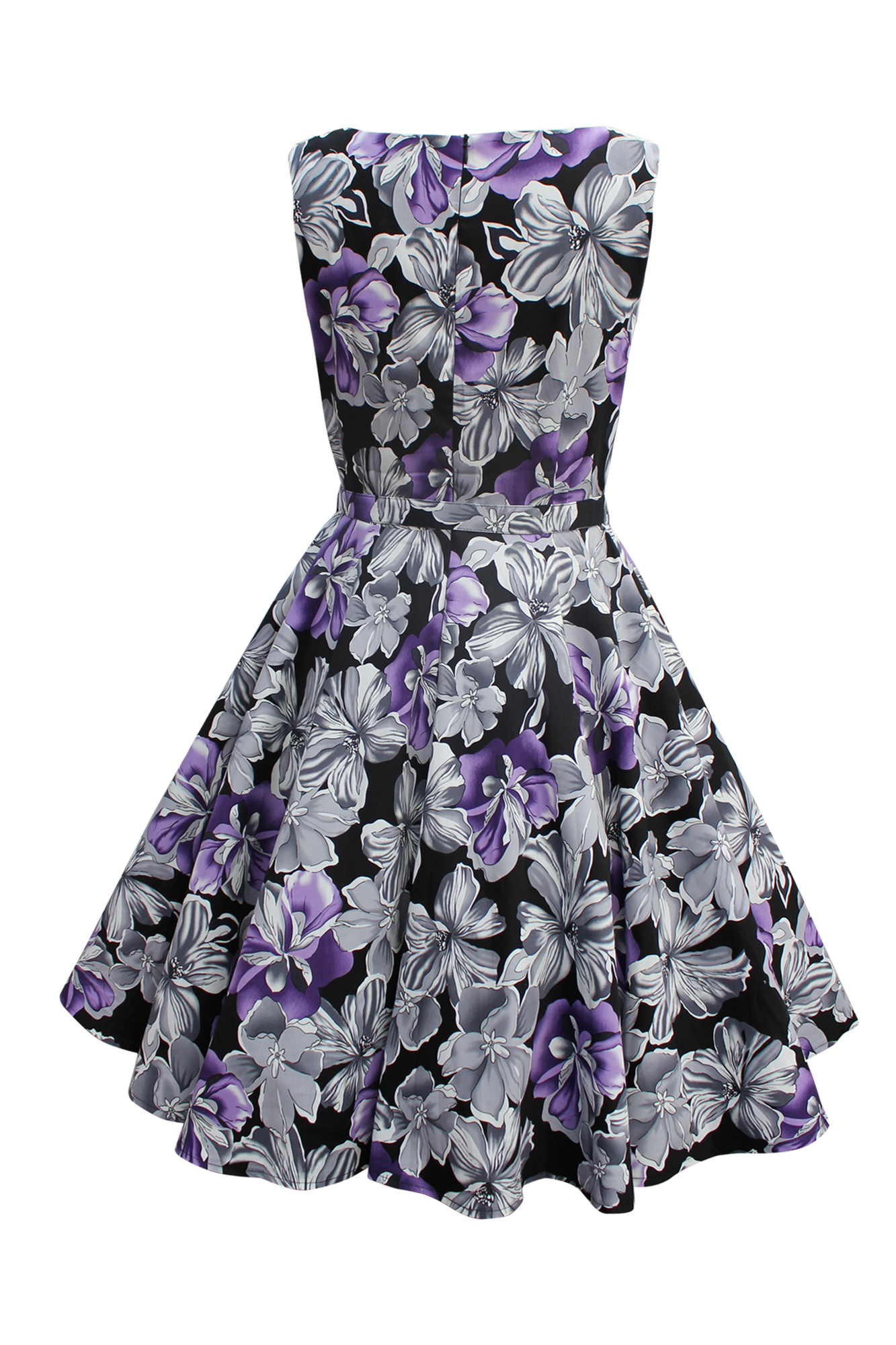 Black Butterfly Audrey Vintage Floral 1950s Rockabilly Swing Evening Dress