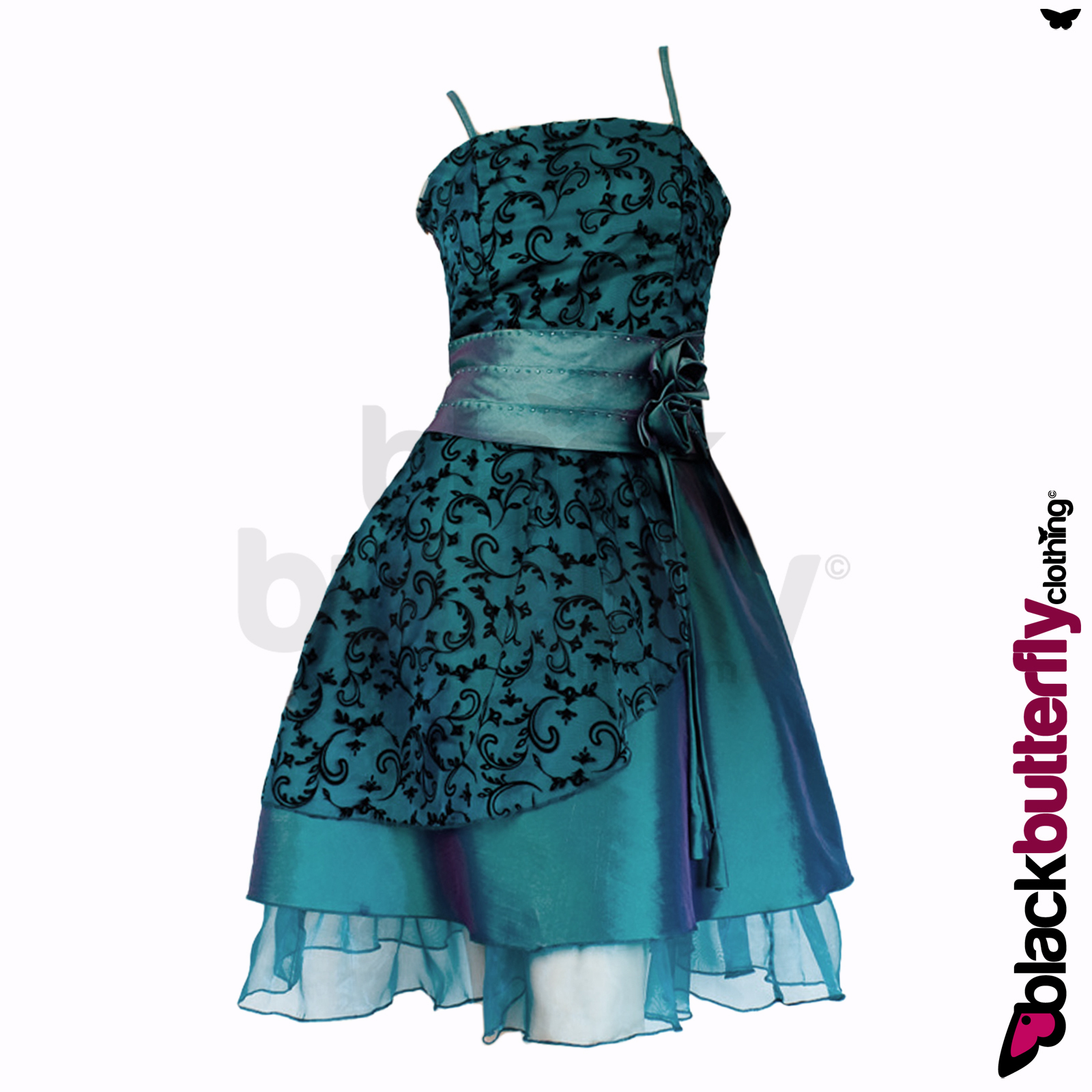 NEW-SATIN-FLORAL-COCKTAIL-EVENING-PROM-DRESS-SIZE-10-18