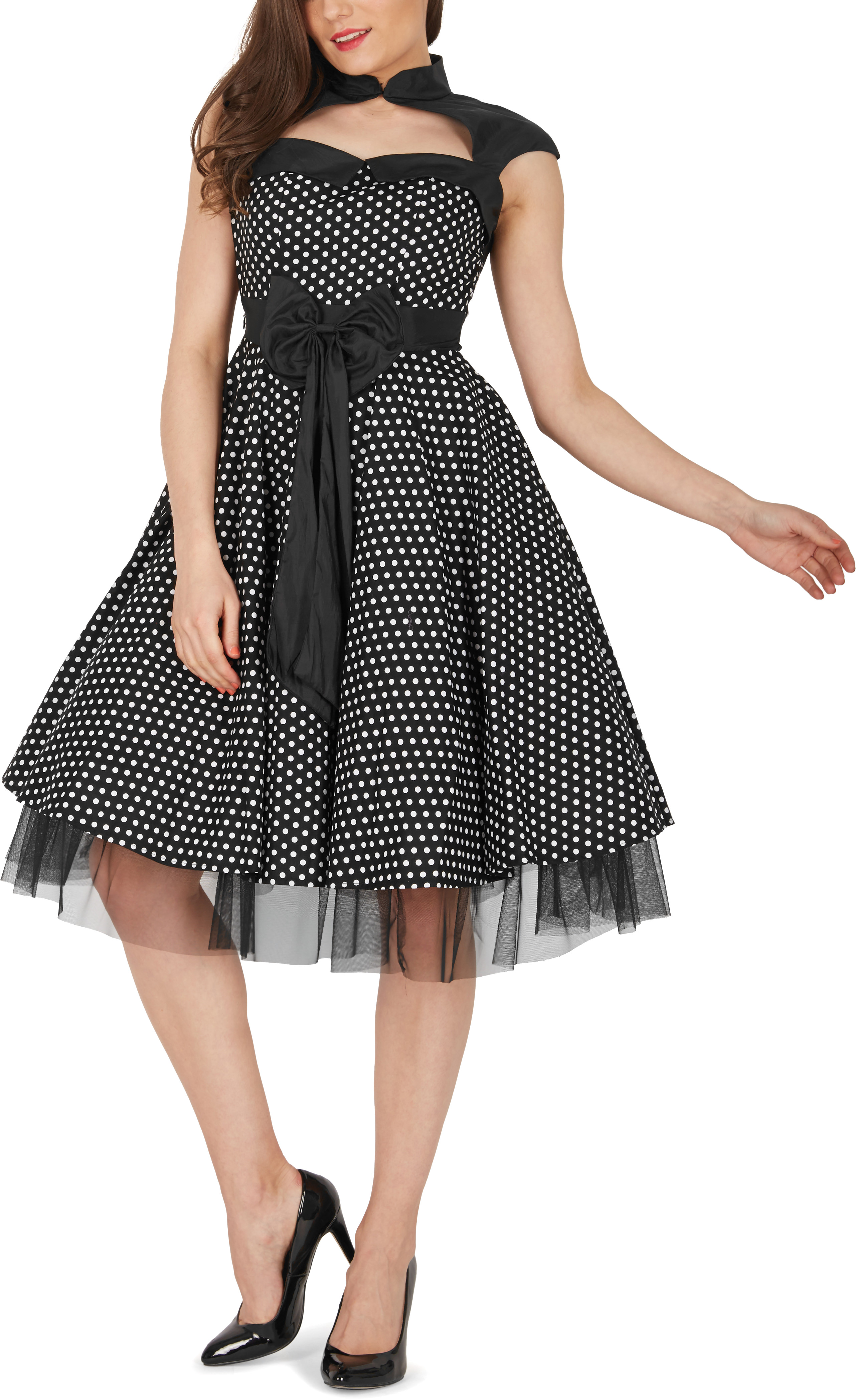 Athena\' Polka Dot Large Bow 50s Rockabilly Evening Swing Pin Up Prom ...