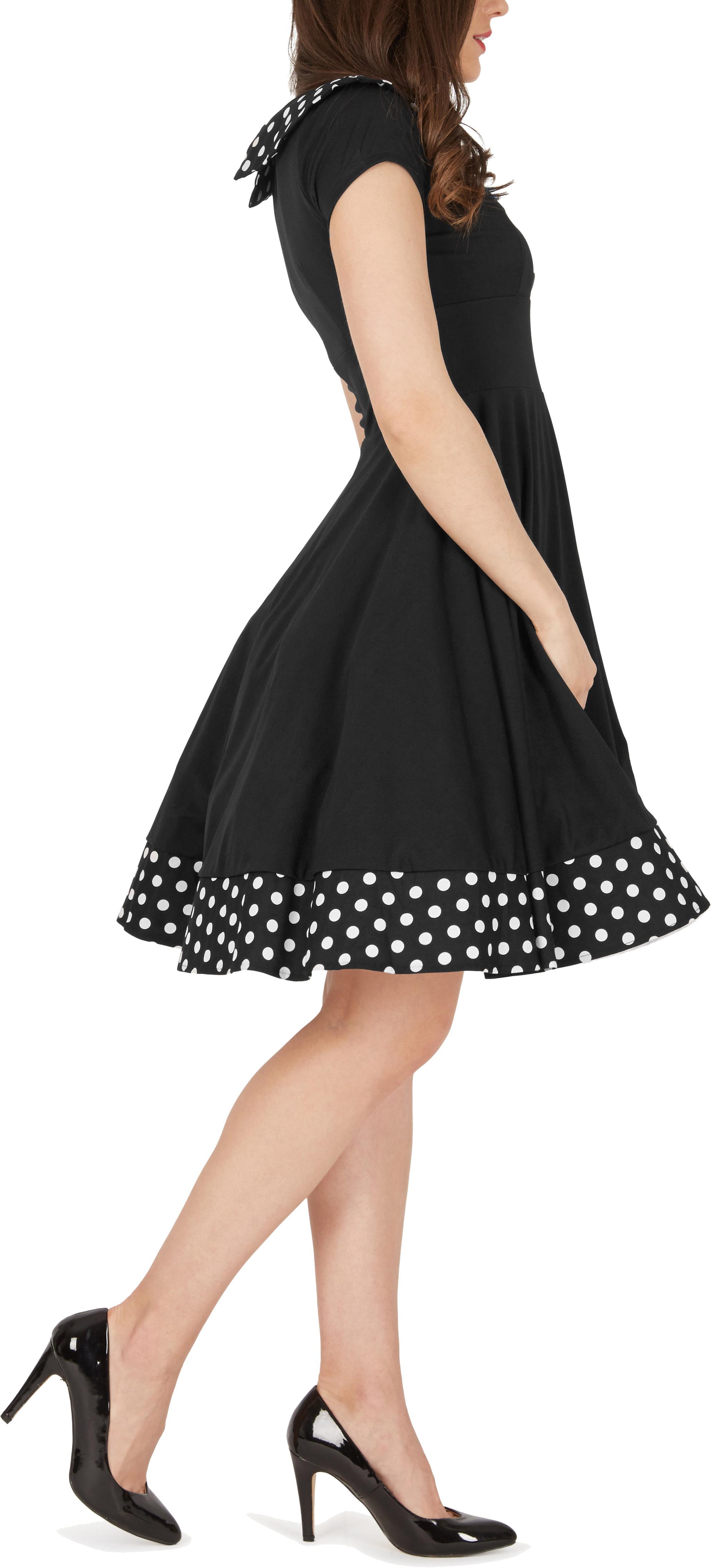 039-Rhianna-039-Vintage-Polka-Dot-Pin-Up-1950-039-s-Rockabilly-Swing-Prom-Dress miniatuur 3