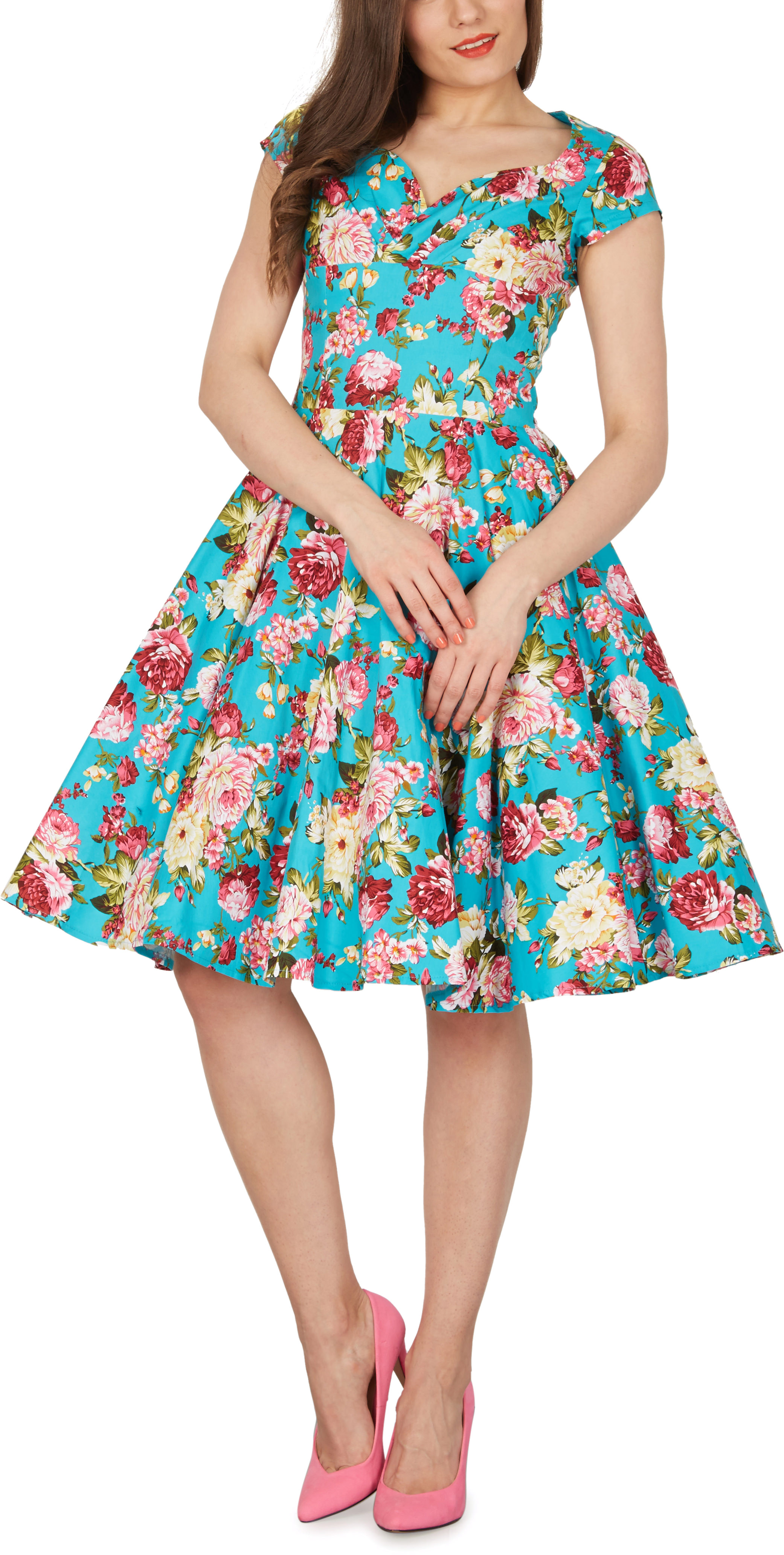 Floral Vintage 1950\'s Full Circle Rockabilly Party Bridesmaid Swing ...