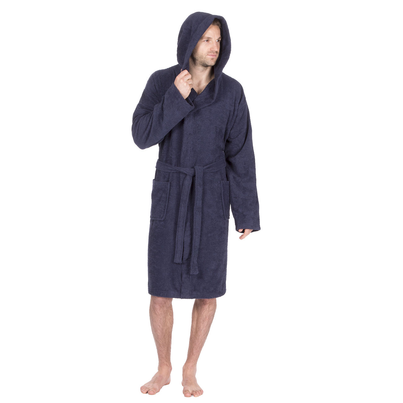 Terry Cloth Robe With Hood Mens