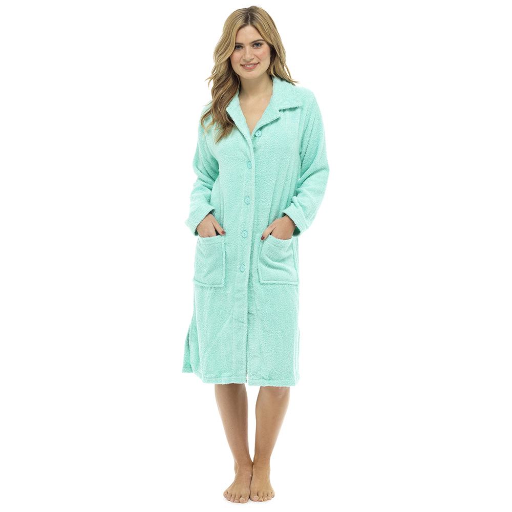 Ladies Terry Towelling Zip or Button Front Dressing Gown Bath Womens ...