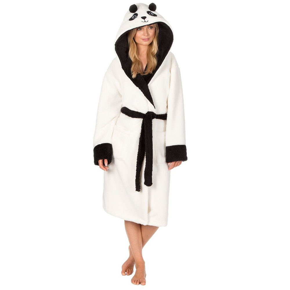Ladies Fluffy Soft Fleece Snuggle Panda Hooded Robe Dressing Gown ...