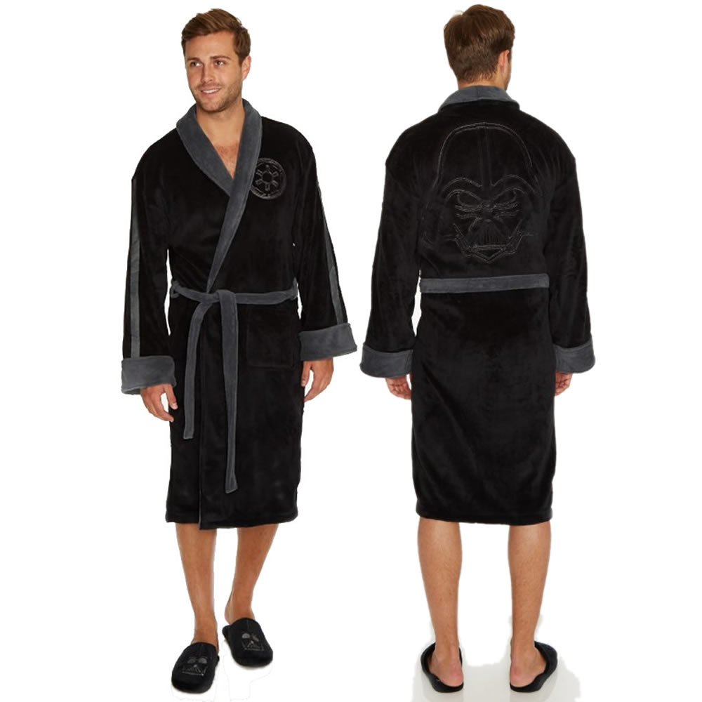 Official Star Wars Mens Fleece Warm Bathrobe Classic Thick Dressing ...